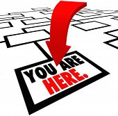 The words You are Here on the bottom square, job or position in an org or organization chart represe