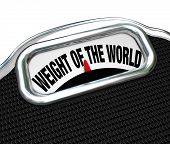 The words Weight of the World on a scale to illustrate trouble, burden, problem, danger on the shoul