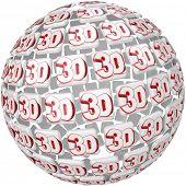 La palabra 3D en azulejos en una esfera tridimensional tres redondos para ilustrar los efectos especiales en una jugada, te