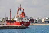 RHODES, GREECE - JUNE 16: Bulk cargo ship Liberty moored at Akantia harbour on June 16, 2011 on the