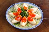 Japanese Hanjuku dish salted hard boiled eggs