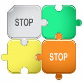 Stop. Raster puzzle. Vector version is in portfolio.