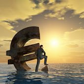 High resolution conceptual 3D currency euro symbol sinking in water,sea or ocean as a concept for Eu