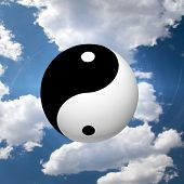 Yin Yang Symbol in Clouds