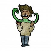 stock photo of strangling  - cartoon hissing snake strangling man - JPG