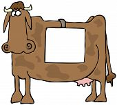 image of farm animals  - This illustration depicts a cartoon cow looking apprehensively towards a sign on its side - JPG