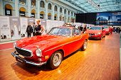 MOSCOW - APR 4: Legendary Volvo P1800,  SUV XC60 and S60 sport sedan at stand in Gostiny Dvor during