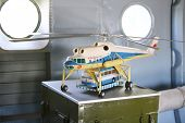 MOSCOW - AUGUST 2: Model of large cargo helicopter Mi-10 in museum of Helicopter Plant named Mil, on