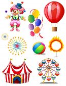 Illustration of a clown playing balls with different circus stuffs on a white background