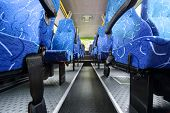 MOSCOW - MAY 15: Seats in saloon of empty city bus at Electrotrance exhibition at VVC, on May 15, 20