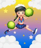 Illustration of a cheerleader jumping with her green pompoms