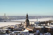 Old Riga In Winter From Above