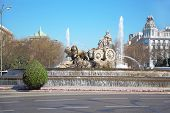 Cibeles Fountain at Cibeles Square at sunny day in Madrid, Spain. Fountain was designed by Ventura R