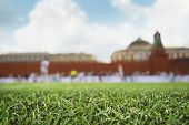 Football field on the background of the Kremlin