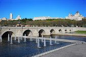 Bridge of Segovia, fountains, Royal Palace and Cathedral of Nuestra Senora de la Almudena in Madrid,
