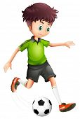 Illustration of a boy with a green shirt playing soccer on a white background
