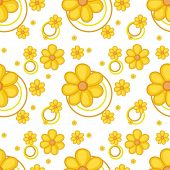 Illustration of a yellow flowery design on a white background