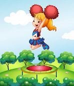 Illustration of a cheerdancer holding her red pompoms above the trampoline