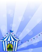 Illustration of a blue circus tent