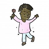 cartoon effeminate man with flower