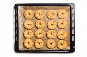 the sweet ring biscuit on baking tray