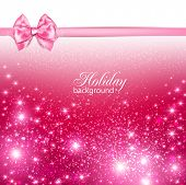 Gorgeous holiday background with pink bow and copy space. Vector illustration