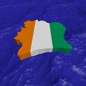 Ivory Coast map flag in abstract ocean illustration