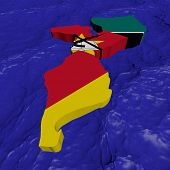 Mozambique map flag in abstract ocean illustration
