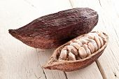 Cocoa pod on a white wooden table.