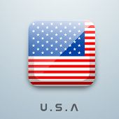 Shiny American Flag in rectangle shape with text U.S.A, Independence Day concept.