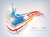 Fourth of July, American Independence Day concept with blue silhouette of Statue of Liberty and flag