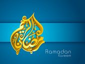 3D golden Arabic Islamic calligraphy text Ramadan Kareem or Ramazan Kareem on blue background.