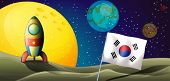 Illustration of a spaceship near the Korean flag at the outerspace