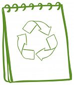 Illustration of a green notebook with the symbols for recycling on a white background