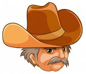 Illustration of an old man wearing a cowboy hat on a white background