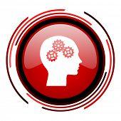 icono brillante web de cabeza círculo rojo sobre fondo blanco
