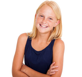 foto of pre-adolescents  - cute pre teen girl half length portrait on white - JPG