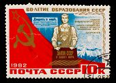 USSR - CIRCA 1982: A stamp printed in USSR, 60th anniversary of