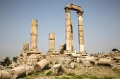 pic of hercules  - Ancient Temple of Hercules on the citadel in Amman Jordan - JPG