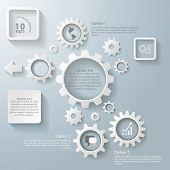 Blanco varios engranajes infografía