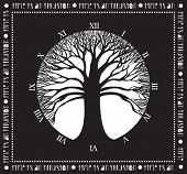 Tree of time - Monochromatic poster with wide naked tree and clock without handles: Time is an Illus