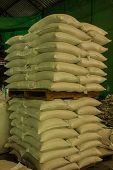 Arrangement With Lots Of Fertilizer Sacks.