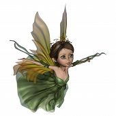 stock photo of pixie  - 3D digital render of a beautiful flying little fairy butterfly isolated on white background - JPG