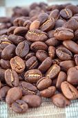 Coffee beans background, close-up