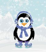 Illustration Of Cute Penguin Ice Skates