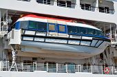 Lifeboats installed on beautiful white passenger liner