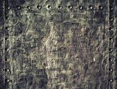 Grunge Black Metal Plate With Rivets Screws Background Texture