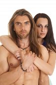 Couple Woman Behind Man No Shirt Close Serious