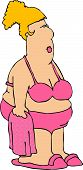 picture of fat woman  - this illustration depicts a fat woman in a bikini - JPG
