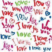 Set Of Brush Strokes And Scribbles In Heart Shapes And Words Love, I Love You - Sketch Elements For
